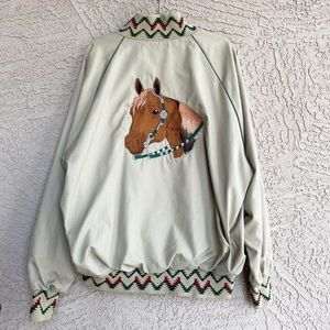 VTG West Ark Horse Embroidered Don Bomber Jacket